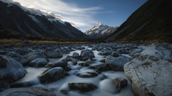 View from the hooker river bed towards Mt. Cook, Mt. Cook National Park, Canterbury, New Zealand