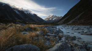View from the banks of the Hooker River towards Mt. Cook, Mt. Cook National Park, Canterbury, New Zealand