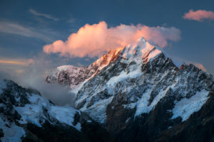 Mt Cook peak with cloud in the last evening light, Mt Cook National Park, Canterbury, New Zealand