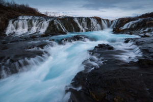 Long exposure of the cascades of Brúarfoss, Suðurland, Iceland