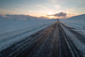 Snæfellsnesvegur in winter at sunset, Snæfellsnes, Vesturland, Iceland
