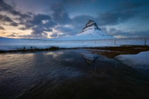 Kirkjufell at the blue hour with reflection, Grundarfjörður, Snæfellsnes, Vesturland, Iceland