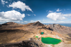 View of the Emerald Lakes in Tongariro National Park, Ruapehu District, New Zealand