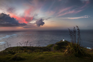 Colorful sunset at Cape Reinga, Far North District, New Zealand