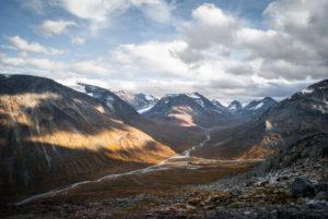 Warm sunlight on the autumn mountains of the Visdalen, Jotunheimen, Norway