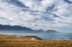 View over the coastline at at Kaikoura Mountains, Canterbury, New Zealand