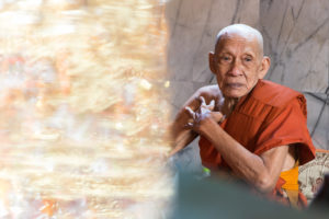 Asia, Thailand, temple, Wat Bang Phli Yai Klang, monk