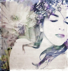A poetic montage of a womans portrait and flower,