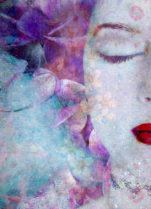 montage of a portrait with flowers and texture