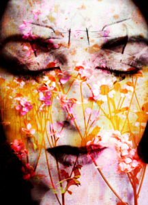 a montage of a portrait of a womans face with flowers and textures