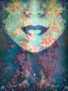 a montage of a portrait with floral elements