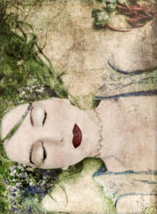 A portrait of a woman with closed eyes, green hair and full red lips