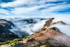 Europe, Portugal, Madeira, Pico do Arieiro, Pico Areeiro, Royal Way, hiking group on the ridge