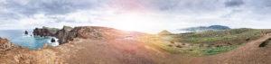 Europa, Portugal, Madeira, Kreis Machico, Canical, Ponta de Sao Lourenco, östlichste Spitze Madeiras, Panoramaaufnahme, Sonnenreflex