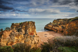 Europe, Portugal, Algarve, Litoral, Barlavento, Faro District, Lagos, cliffs at Praia da Batata, southern bay