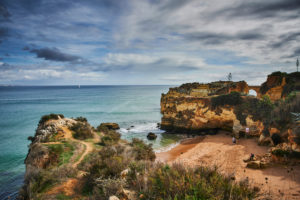 Europe, Portugal, Algarve, Litoral, Barlavento, Faro District, Lagos, bay on the cliffs, view from Miradouro Praia da Batata