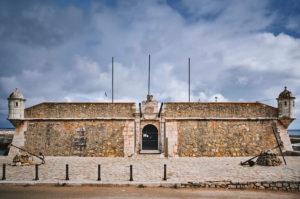 Europe, Portugal, Algarve, Litoral, Barlavento, Felsalgarve, Faro District, Lagos, Forte Ponta da Bandeira, main portal on Avenida dos Descobrimentos
