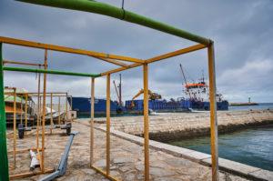 Europe, Portugal, Algarve, Litoral, Barlavento, Felsalgarve, Faro District, Lagos, port area, suction dredger in the port entrance
