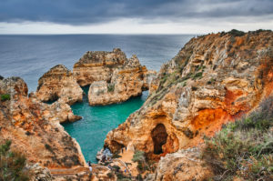 Europe, Portugal, Algarve, Litoral, Barlavento, Felsalgarve, Faro District, Lagos, Ponta da Piedade, lagoon with stair access, dream path