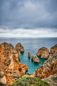 Europe, Portugal, Algarve, Litoral, Barlavento, Felsalgarve, district Faro, Lagos, Ponta da Piedade, lagoon with stone stairs, dream path, clouded, portrait format
