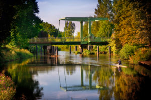 Architecture, technology and nature, evening light, old lifting bridge over the Ilmenau, Bardowick, Lower Saxony