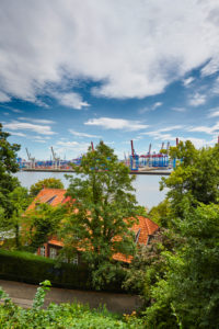 Germany, Northern Germany, port city, Hamburg, Altona, Othmarschen, Schulberg, seaport, Elbe, view from Elbchaussee over treetops and house roofs, port basin with container terminal in Waltershof, Buchardkai, portrait format