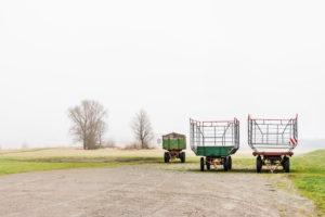 Uferlandschaft, Elbtal, Deutschland, Norddeutschland, Niedersachsen, Elbe, Ufer bei Artlenburg, melancholische Stimmung, Winterstimmung, Nebel, landwirtschaftliche Erntewagen stehen aufgereiht im Winterschlaf