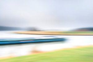 Artphoto, Intentional Camera Movement, Germany, Northern Germany, Lower Saxony, Elbe, riverside landscape, Elbe valley, shore near Artlenburg, melancholy mood, barge turns into the Elbe side canal