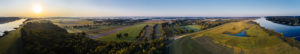 Landscape, Elbe Valley, Germany, Northern Germany, Lower Saxony, Elbe, shore at Hohnstorf, aerial view shortly after sunrise, panoramic format, Elbe foreland with meadows and forest,