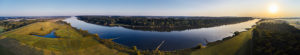 Riverside landscape, Elbe Valley, Germany, Northern Germany, Lower Saxony, Elbe, shore at Hohnstorf, aerial view shortly after sunrise, panoramic format, river bank towards the north,
