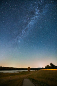 Night shot, celestial vault, galaxy Milky Way, starry sky at the time of the Perseids, meteor shower, Germany, Northern Germany, Lower Saxony, Elbe valley, Elbe bank at Barförde, upstream,