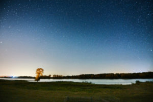 Night shot, celestial vaults, starry sky at the time of the Perseids, Germany, Northern Germany, Lower Saxony, Elbe Valley, banks of the Elbe near Barförde, downstream towards Lauenburg