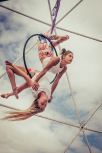 Couple team peole of acrobatice air dance traing together for perfect exhibition balanced and synchro - alternative sport athlete beautiful uoung woman outdoor worksout fitness lifestyle