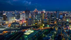 Overview of Osaka at Night, Japan,
