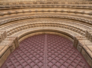 Door. Old Cathedral in Lleida. Catalunya. Spain