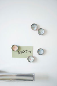 DIY, fridge magnets made of bottle caps