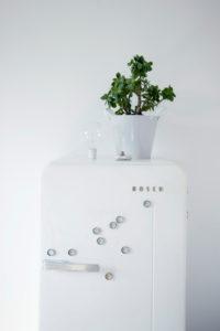 DIY, flower pot on fridge, fridge magnets made of bottle caps