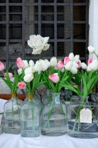 Insel Giudecca Venedig - Harry´s Dolci Restaurant - kleine Schwester von Harry´s Bar, Blumenvasen