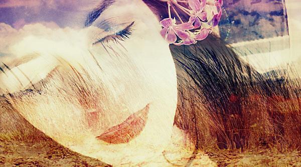 Photomontage, woman, landscape, beach, detail, color filter,