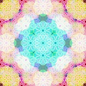 Photographic flower mandala, turquoise, yellow, pink,