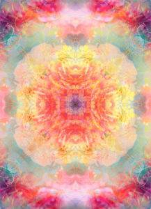 Photographic flower mandala, red, yellow, turquoise,