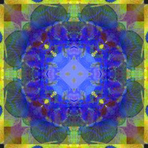 fotografisches Blüten Mandala, blau, grün,
