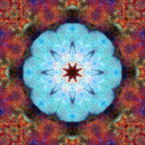 Photographic flower mandala, turquoise, orange, purple,