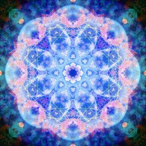 fotografisches Blüten Mandala, blau, rosa,