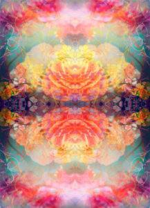 fotografisches Blüten Mandala, gelb, orange, türkis,