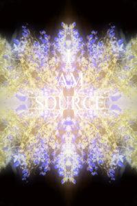 fotografisches Blüten Mandala, Schriftzug, I Am Source