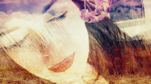 Photomontage, woman, landscape, beach, detail, color filter,