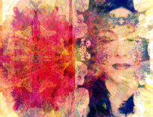 Photomontage, woman, flowers, detail, color filter,