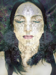 Photomontage, woman's face, flower mandala, lettering 'I Am Source',