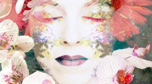 Fotomontage, Frau, Gesicht, Äste, Blätter, Blüten, Detail,